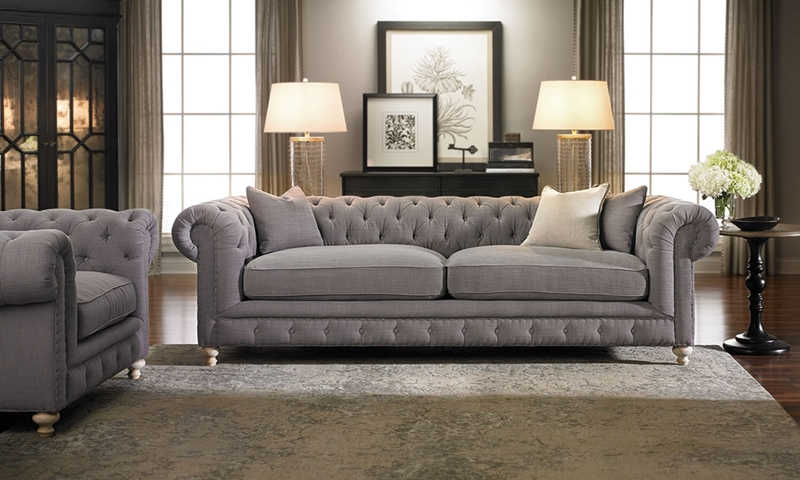 Francis Drake Chesterfield Grey Sofa