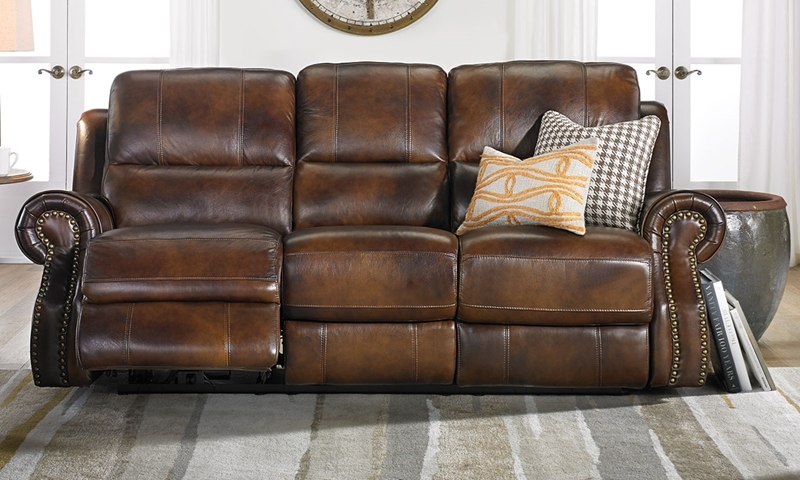 Era Nouveau Top-Grain Leather Sofa with Dual Power Recliners in Classic Brown