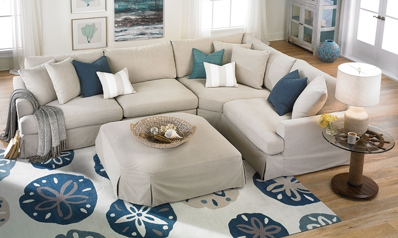 Two Lanes Alpha Flare Arm Sectional with Slipcover - Living Room Shot