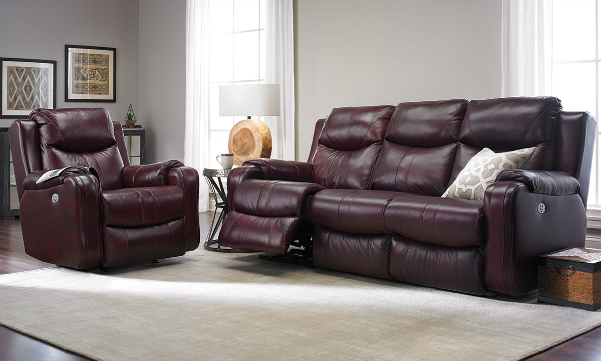 Infinite Motion Leather Power Sofa With Power Headrest