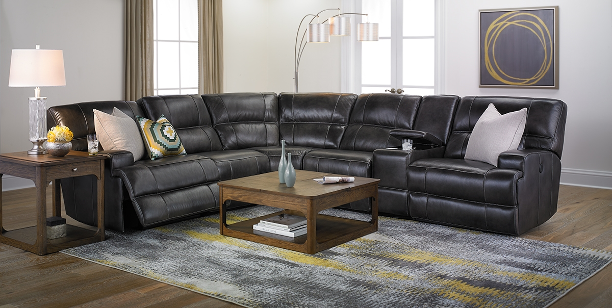 Picture Of Era Nouveau Top Grain Power Reclining Sectional