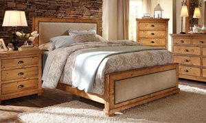 Picture of Willow Pine & Linen Rustic Queen Bed