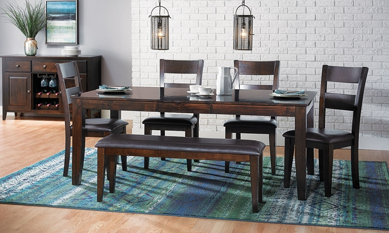 Dark Mango Solid Wood 5 Piece Dining Set