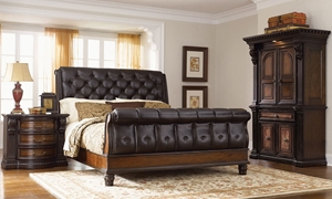 Grand Estates Leather Queen Sleigh Bedroom Set with Bed, Nightstand and Armoire