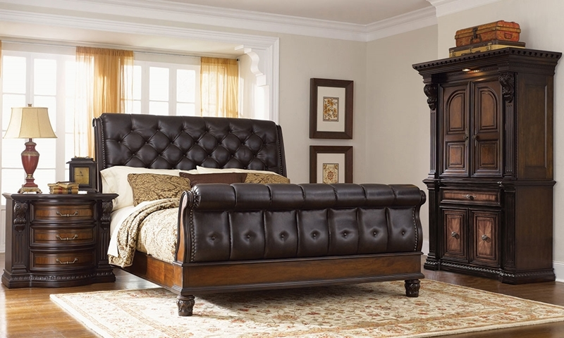 Picture of Grand Estates Leather Queen Sleigh Bedroom