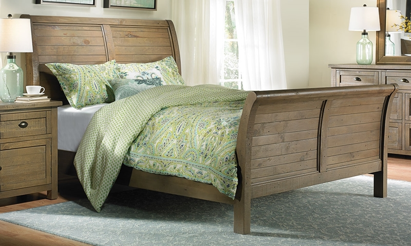 Picture of Slater Mill Reclaimed Pine Queen Sleigh Bed