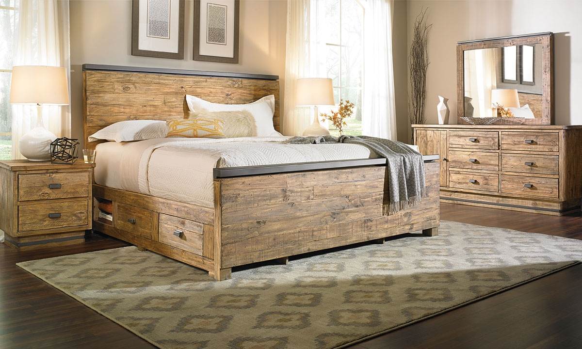 American way solid pine queen storage bedroom haynes for Bedroom furniture queen storage bed