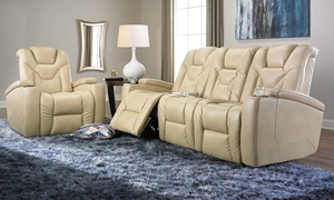 Picture of Jamestown Power Reclining Champagne Theater Sofa