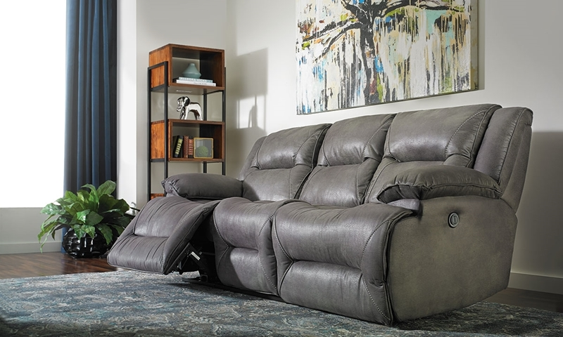 90-inch overstuffed sofa with dual power recliners in gray faux leather