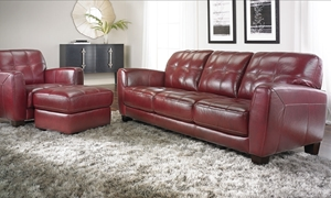 Violino Classico Contemporary Burgundy 100% Leather Sofa and Chair in Living Room