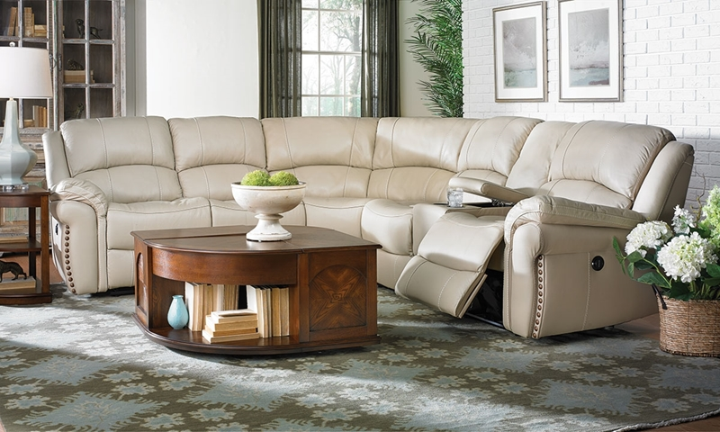 Picture of Leather Dual Power Reclining Storage Sectional
