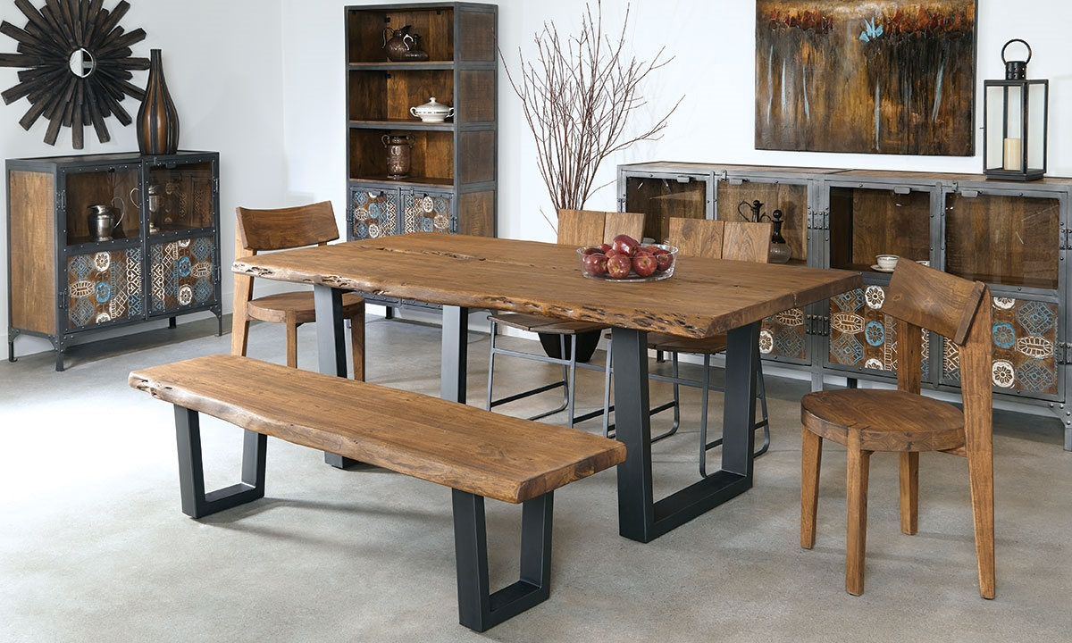 Haynes Furniture. 79-Inch Live Edge Solid Acacia Dining Table