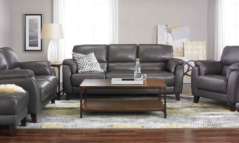 Merveilleux Picture Of Violino Classico Pewter Leather Sofa