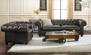 Picture of 93-Inch Top-Grain Hand-Tufted Chesterfield Sofa