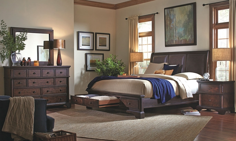 Picture of Aspenhome Bancroft Bonded Leather Sleigh Storage Bedroom
