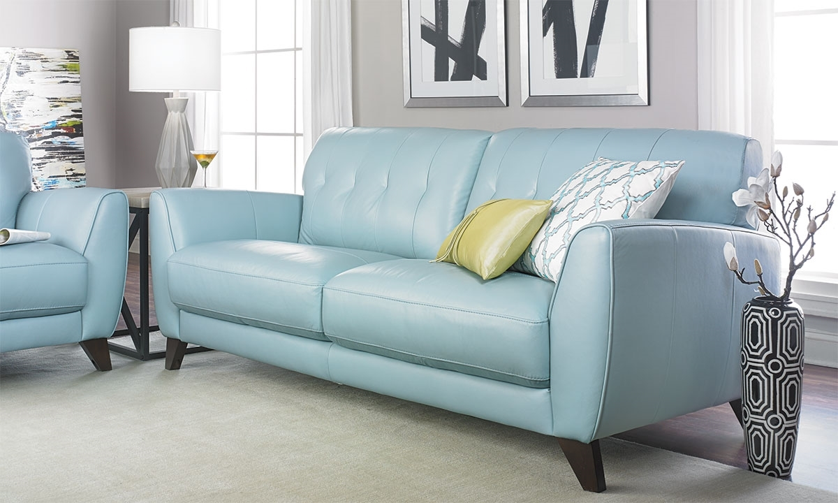 Violino Tufted Sofa In Light Blue Leather Haynes Furniture