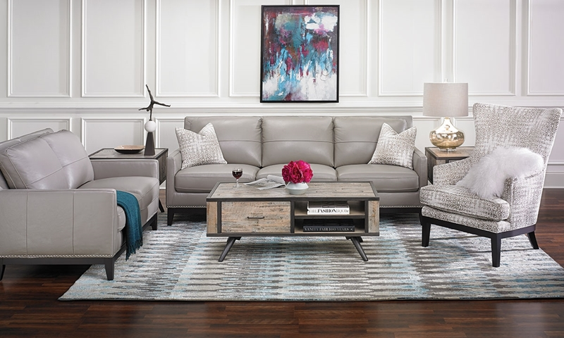 Contemporary Leather Sofa with Nail Head Trim | Haynes Furniture
