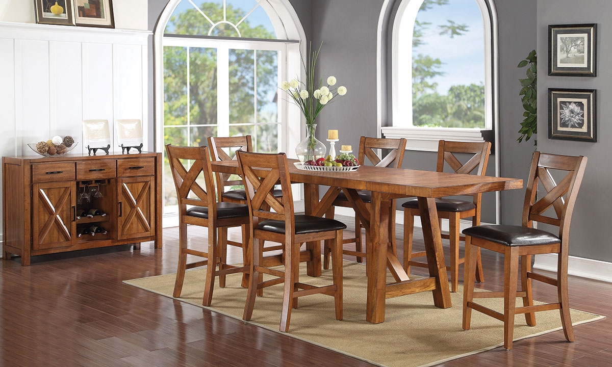 Haynes Furniture Burnished Mango Counter Height Dining Set
