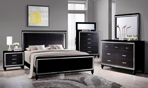 Picture of 7-Piece Miami Black Upholstered Queen Bedroom