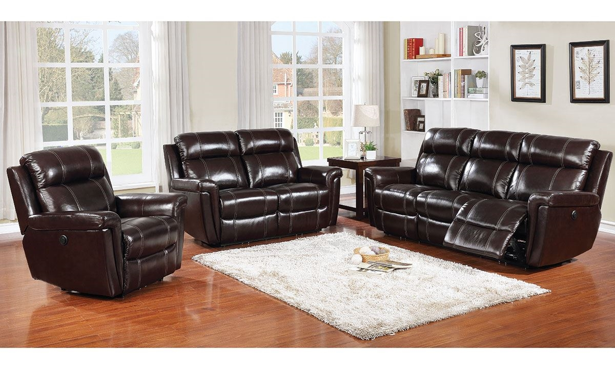 Picture Of 3 Piece Power Reclining Leather Living Room