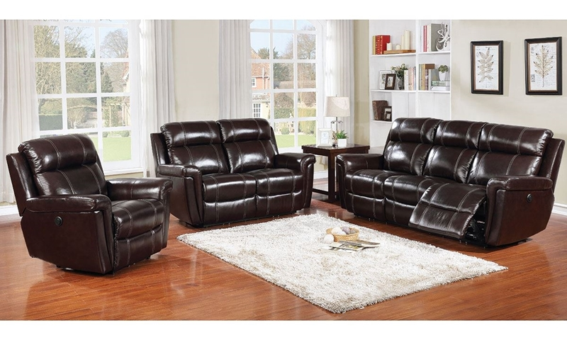 Picture of 3-Piece Power Reclining Leather Living Room