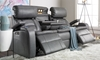 85-inch Theater Sofa with Power Recline, Power Headrests, Storage Console, Cup Holders and USB Charging in Gray Faux Leather - Open Drop Down Table and End Reclined