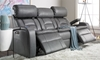 85-inch Theater Sofa with Power Recline, Power Headrests, Storage Console, Cup Holders and USB Charging in Gray Faux Leather - Ends Reclined
