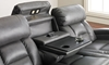 85-inch Theater Sofa with Power Recline, Power Headrests, Storage Console, Cup Holders and USB Charging in Gray Faux Leather - Closeup of Drop Down Table