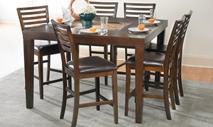 Picture of 7-Piece Oak, Mango & Acacia Counter Height Dining Set