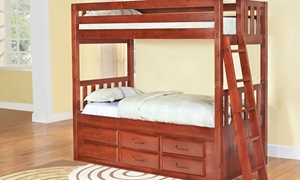 Picture of Solid Pine Twin over Twin Bunk Bed with Storage