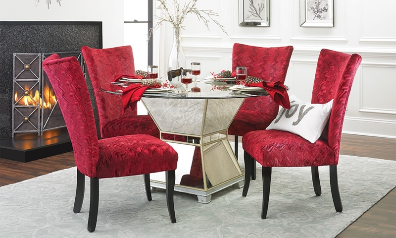 Haynes Furniture Contemporary Mirrored Dining Set