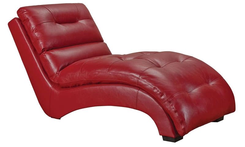 66 Inch Chaise Lounge Chair In Red