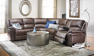 Picture of Leather Power Reclining Storage Sectional in Brown