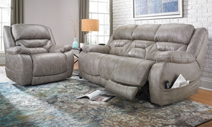 91-inch Faux Leather Sofa with Dual Power Recline, Power Headrests and Lumbar Support powered by remote control - Full Set in Living Room