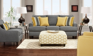 Maxwell Contemporary Track Arm Sofa in Heathered Gray Upholstery with Yellow and Gray Accent Pillows
