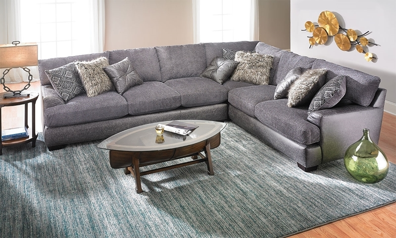 Two Toned Gray Textured Sectional Haynes Furniture