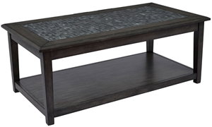 Picture of Grey Mosaic Cocktail Table with Casters