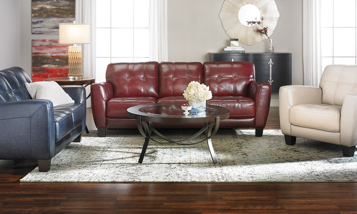 Burgundy leather sofa living room furniture