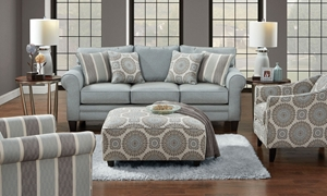 Grande Mist Roll Arm Sofa in Light Blue Upholstery and Dark Wood Feet