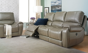 Picture of LaSalle 90-Inch Leather Power Sofa with Nail Head Trim