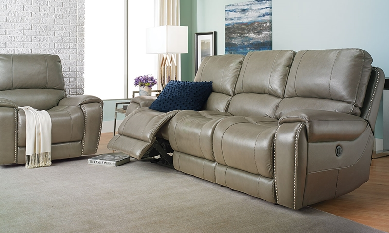 LaSalle 90-Inch Leather Power Sofa with Nail Head Trim | Haynes ...