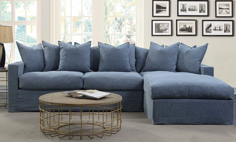 Aria Palmero 121 Inch Slipcovered Sectional Sofa