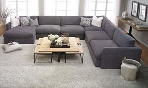 Lincoln Park Handmade Modular Sectional Sofa with 62-inch Chaise in Charcoal Gray Fabric - Family Room Shot