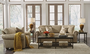 Flexsteel Carson 91-Inch Roll Arm Sofa in Neutral Tan Fabric in Casual Family Room