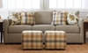 Trisha Yearwood Atlanta Tapered Flare Arm Sofa in Misty Gray Fabric with Four Patterned Toss Pillows - Living Room Shot