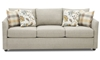 Trisha Yearwood Atlanta Tapered Flare Arm Sofa in Misty Gray Fabric with Four Patterned Toss Pillows