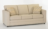 Klaussner Berger Track Arm Sleeper Sofa with Queen Gel Memory Foam Mattress in Beige Fabric - Closed