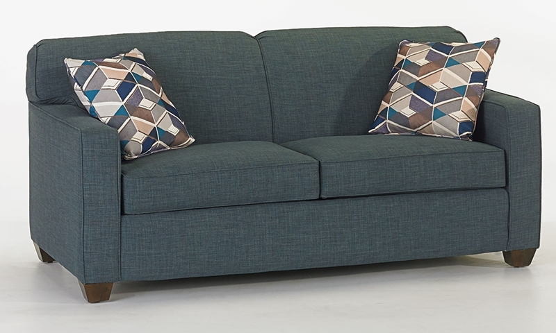 Klaussner Modern Full Size Sleeper Sofa in Turquoise with Throw Pillows - Closed