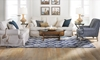 Two Lanes Natural Roll Arm Sofa with Natural Slipcover - Blue living room shot