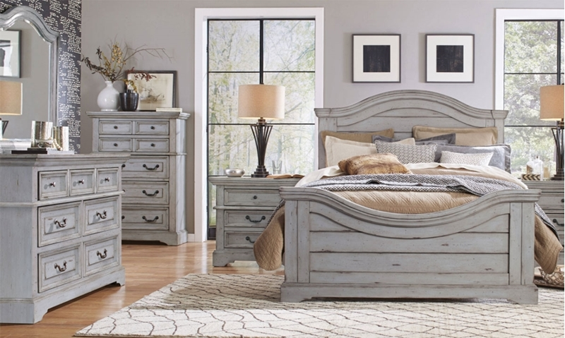 Wood-plank inspired bedroom with panel bed, 7-drawer dresser with arched mirror, chest and nighstand in antique grey finish